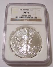 2013 1 oz Silver Eagle Dollar MS70 NGC