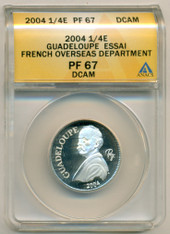 French Guadeloupe Silver 2004 1/4 Euro Essai PF67 DCAM ANACS Low Mintage