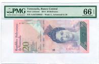 Venezuela 2014 20 Bolivares Bank Note Gem Unc 66 EPQ PMG