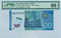 Nicaragua 2014 100 Cordobas Bank Note Gem Unc 66 EPQ PMG
