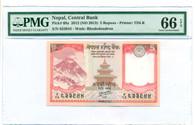 Nepal 2013 5 Rupees Bank Note Gem Unc 66 EPQ PMG