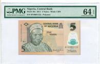 Nigeria 2011 5 Naira Bank Note Ch Unc 64 EPQ PMG