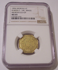 Moroni Utah 1896 Merchant Trade Token Moroni CO-OP Good For 10 Cents R-MOR-2 Brass MS64 NGC