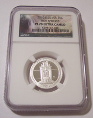 2010 S Silver Hot Springs NP Quarter Proof PF70 UC NGC