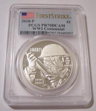 2019 P WWI Centennial Silver Dollar Proof PR70 DCAM PCGS First Strike