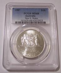 Australia 1987 Silver $10 New South Wales MS68 PCGS