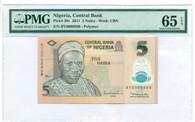 Nigeria 2011 5 Naira Bank Note Gem Unc 65 EPQ PMG