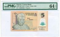 Nigeria 2013 5 Naira Bank Note Ch Unc 64 EPQ PMG
