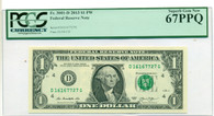 2013 FRB Cleveland 1 Dollar Bank Note Superb Gem New 67 PPQ PCGS Currency