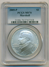 2005 P Marshall Commemorative Silver Dollar MS70 PCGS