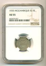 Mozambique 1935 Silver 2 1/2 Escudos AU55 NGC