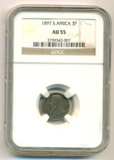 South Africa 1897 Silver 3 Pence AU55 NGC