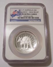 Australia 2011 P 1 oz Silver Dollar Kangaroo High Relief Proof PF70 UC NGC