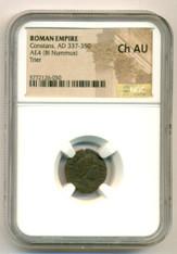 Roman Empire Constans AD 337-350 AD AE4 BI Nummus Trier Mint Ch AU NGC