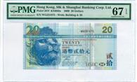 Hong Kong HK & Shanghai Banking Corp Ltd 2009 20 Dollars Note Superb Gem Unc 67 EPQ PMG