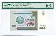 Uzbekistan 2001 1000 Sum Bank Note Gem Unc 66 EPQ PMG