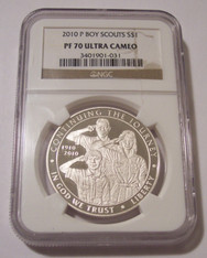 2010 P Boy Scouts of America Commemorative Silver Dollar Proof PF70 UC NGC