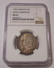 Germany Empire Hesse-Darmstadt 1904 Silver 2 Mark MS63 NGC