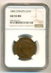 Straits Settlements Victoria 1883 Cent AU55 BN NGC