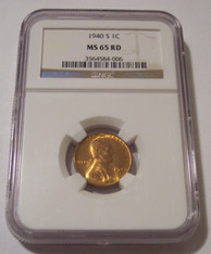 1940 S Lincoln Wheat Cent MS65 RED NGC