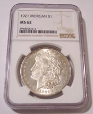1921 Morgan Silver Dollar MS62 NGC