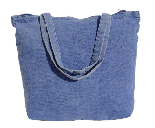"""Wholesale 18""""x12.5""""x4"""" Washed Denim Zippered Tote Bags"""