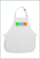 "22""x24"" White Cotton Twill Adjustable Pocketed Apron wtih Full Color Imprint, 8 oz cotton twill, 3 pockets. Customize it, personalize it, promote it, resell it, with your photo, logo, artwork. No limit on images - mix and match as you please. Allow 1-5 business days for production."
