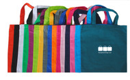 Imprinted 13x13 cotton tote bag with one color screen print.