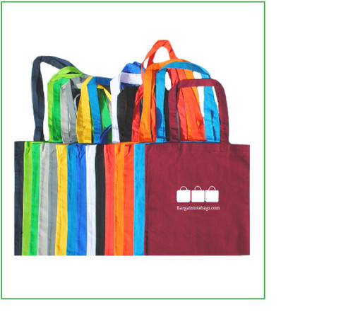 """15""""x16"""" cotton tote bags with one color screen print."""