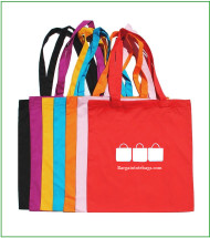 "15""x16"" cotton twill tote bags with one color screen print."