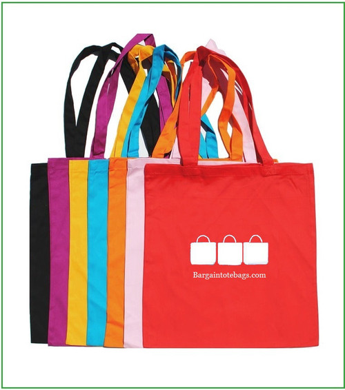 """15""""x16"""" cotton twill tote bags with one color screen print."""