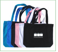 """18""""x18x4"""" 10 oz zippered cotton canvas and denim tote bag with one color screen print."""