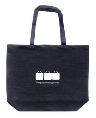 "20""x16""x5 cotton canvas and denim tote bags with a one color screen print."