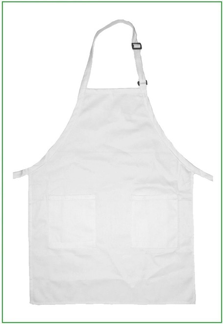 """23""""x30"""" White Twill  Adjustable Full Apron with 2 Pockets"""