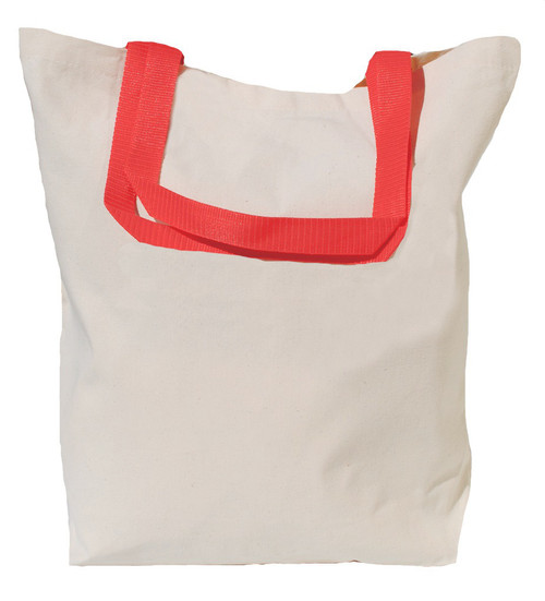"16""x16""x5"" Cotton Canvas Tote Bag with Color Handles"
