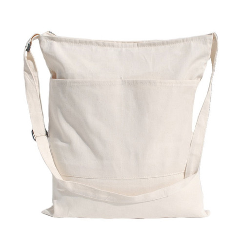 "15""x16"" zippered natural twill messenger bag with front pockets"