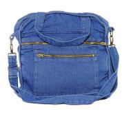 "10""x10""x3"" washed denim zippered purse/tablet bag"