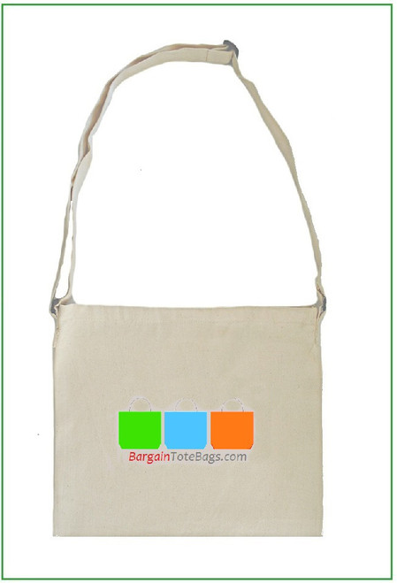 """13""""x15"""" Natural Twill Messenger with Full Color Imprint"""