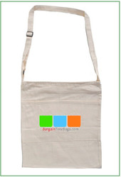"15""x16"""" zippered natural twill messenger bag with Full Color Imprint"