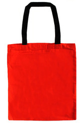 "14""x16"" Red Cotton Tote Bag with Black Handles"