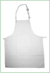 "27""x33"" White Cotton Twill Adjustable Full Apron with 1 Pocket"