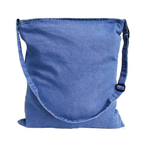 """15""""x16"""" washed denim messenger tote bag"""