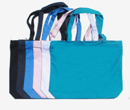 """18""""x14""""x4"""" color canvas & denim zippered tote bags"""