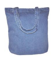 "15""x15""x4"" washed denim tote bag"