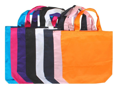 """Wholesale 13""""x13""""x4"""" color cotton tote bags, 5 oz 100% cotton. Perfect for arts & crafts, advertising, parties, books, promotional, customizing, personalizing, school, church, wedding, fundraising, artists, gifts, resale & everyday use."""
