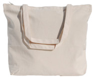 "Wholesale 18""x14""x4"" Natural Cotton Canvas Zippered Tote Bag"