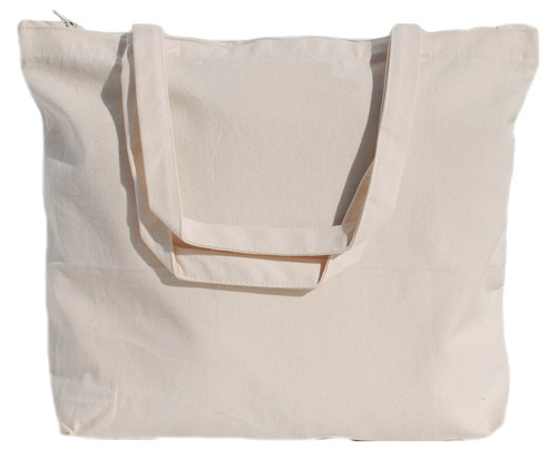 """Wholesale 18""""x14""""x4"""" Natural Cotton Canvas Zippered Tote Bag"""
