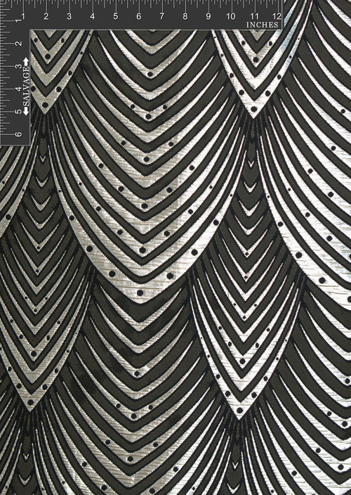 Hi-Rise Polyester Metallic Jacquard Designer Scale Fabric by the Yard