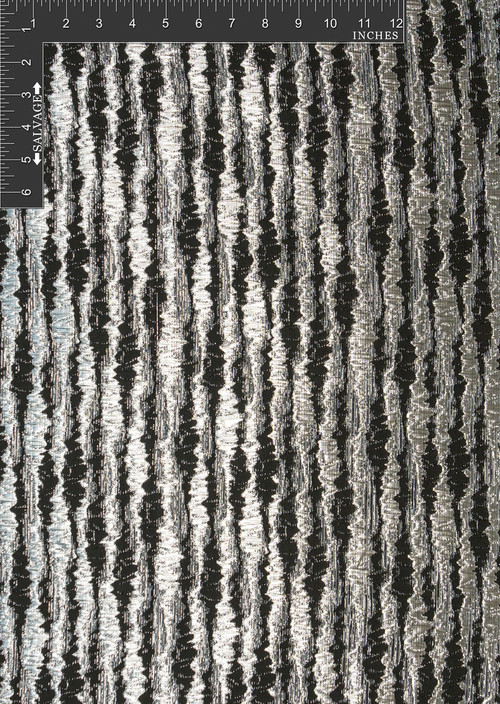 Pulse Polyester Metallic Jacquard Designer Stripe Fabric by the Yard