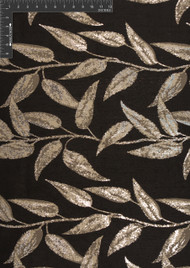 Vine Polyester Lurex Blended Metallic Jacquard Designer Leafy Fabric by the Yard